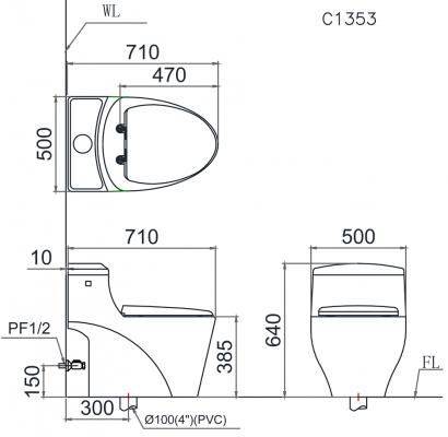 Bản vẽ bồn cầu 1 khối Caesar C1353