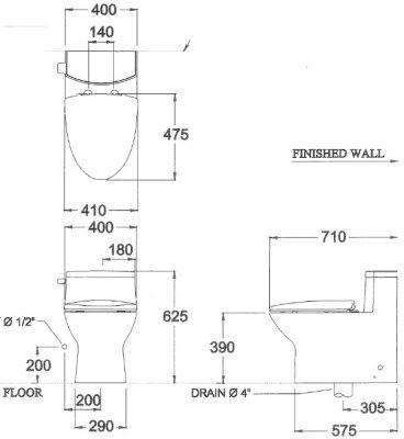 bản vẽ bồn cầu 1 khối xả gạt COTTO C10127 Chloe