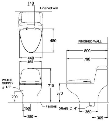Bản vẽ bồn cầu 1 khối xả gạt COTTO C1046 Astoria