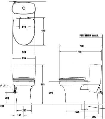 Bản vẽ bồn cầu 1 khối xả nhấn COTTO C1015 Macc