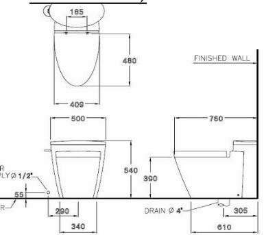 Bản vẽ bồn cầu cao cấp 1 khối COTTO C10047 Paragon