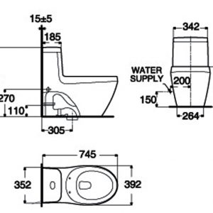 bản vẽ bồn cầu 1 khối American Standard WP-2035 La Vita