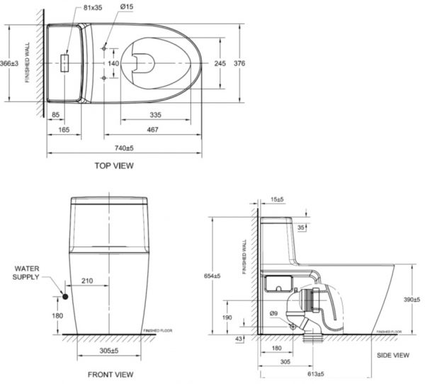 bản vẽ bồn cầu 1 khối American Standard 2007-WT Acacia E