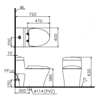 bản vẽ Bồn cầu 1 khối nắp êm CAESAR CD1356