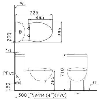 bản vẽ bồn cầu 1 khối nắp êm CAESAR CD1375