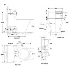 bản vẽ bồn cầu 1 khối American Standard 2040-WT IDS Dynamic