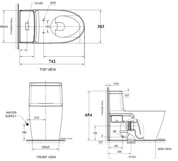 bản vẽ bồn cầu 1 khối American Standard VF-1808 Acacia