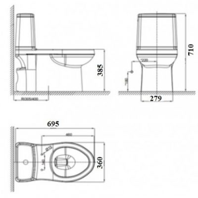 bản vẽ bồn cầu 1 khối American Standard VF-1858 Cozy