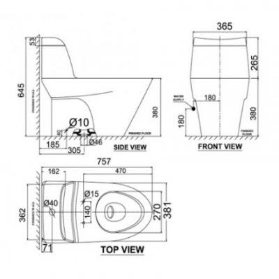 bản vẽ bồn cầu 1 khối American Standard VF-2010 Activa