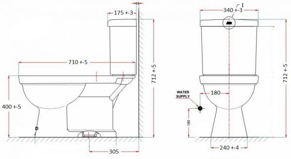 bản vẽ bồn cầu 1 khối American Standard VF-2024 New Codie II