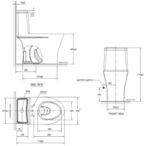 bản vẽ bồn cầu 1 khối American Standard VF-2530 Flexio