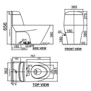 bản vẽ bồn cầu 1 khối American Standard WP-1830 Milano