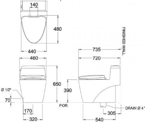 bản vẽ bồn cầu 1 khối COTTO C10527 Grand Riviera