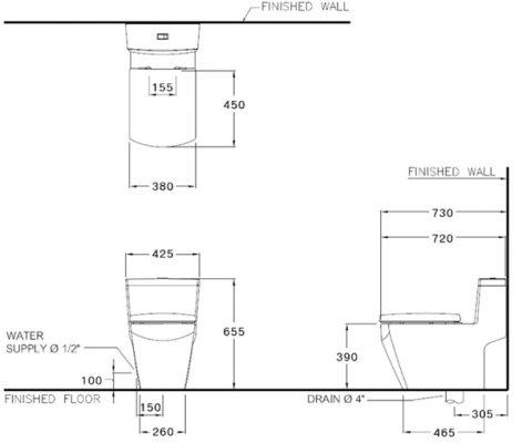 bản vẽ bồn cầu 1 khối COTTO C10717 Grand Tetragon