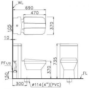 bản vẽ bồn cầu 1 khối nắp êm CAESAR CD1347