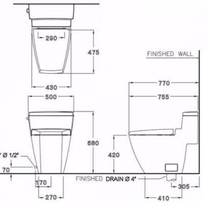 Bản vẽ bồn cầu 1 khối xả gạt COTTO C10187 Hercules