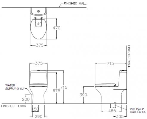 Bản vẽ bồn cầu 1 khối xả nhấn COTTO C1053 Micc
