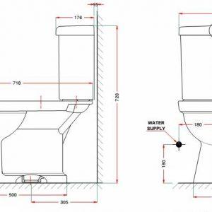 bản vẽ bồn cầu 2 khối American Standard VF-2013