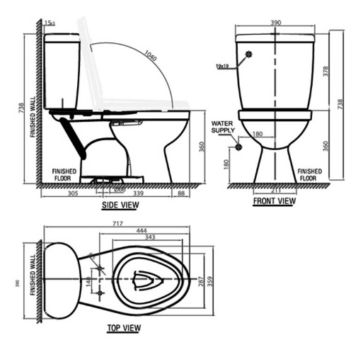 bản vẽ bồn cầu 2 khối American Standard VF-2395