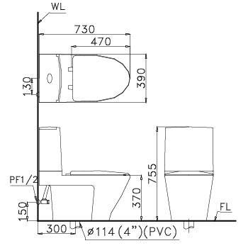 bản vẽ bồn cầu 2 khối CAESAR CD1345