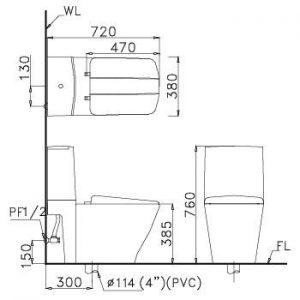 bản vẽ bồn cầu 2 khối CAESAR CD1346