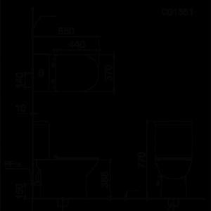bản vẽ bồn cầu 2 khối CAESAR CD1551