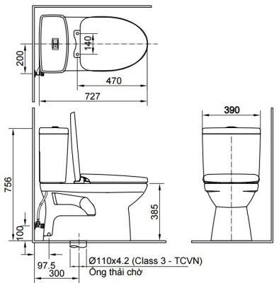 bản vẽ Bồn cầu 2 khối INAX AC-504VAN Aqua Ceramic
