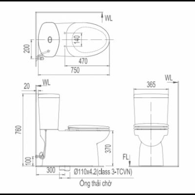 bản vẽ bồn cầu 2 khối INAX AC-702VRN xả nhấn Aqua Ceramic