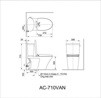 bản vẽ bồn cầu 2 khối INAX AC-710VAN xả gạt Aqua Ceramic
