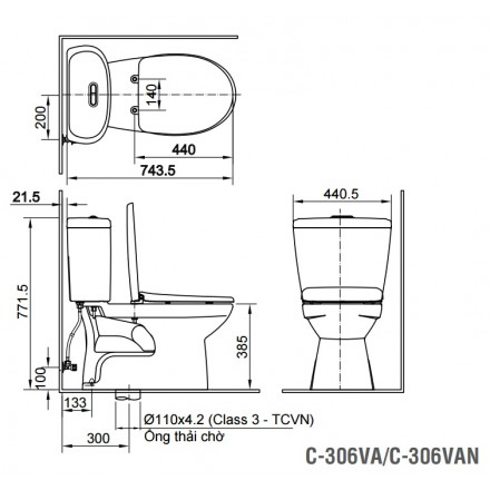 bản vẽ bồn cầu 2 khối INAX C-306VA