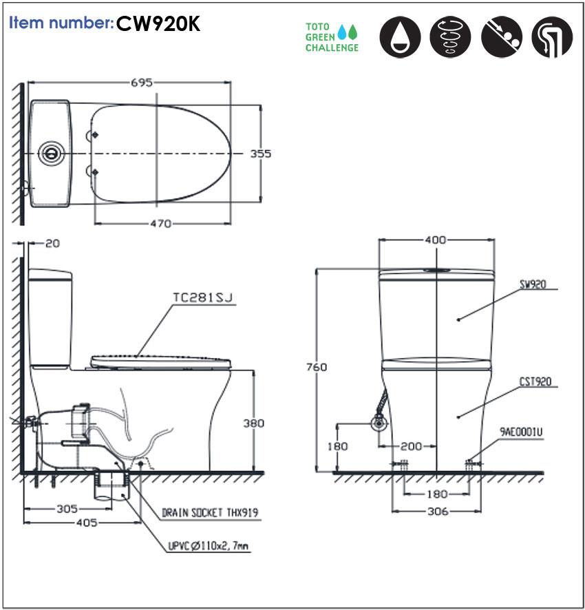 Bồn cầu 2 khối TOTO CW920K/SW920K - Nội thất Hoàng Quốc Việt