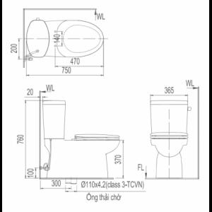 bản vẽ bồn cầu 2 khối INAX AC-711VRN xả gạt Aqua Ceramic