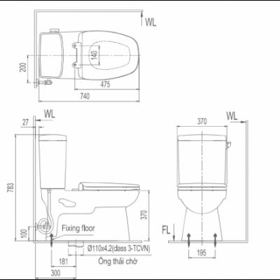 bản vẽ Bồn cầu 2 khối INAX AC-838VN xả gạt Aqua Ceramic