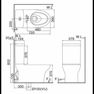 bản vẽ bồn cầu 2 khối INAX AC-907VN Aqua Ceramic xả nhấn