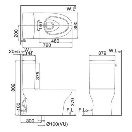 bản vẽ bồn cầu 2 khối INAX AC-927VN Aqua Ceramic xả gạt