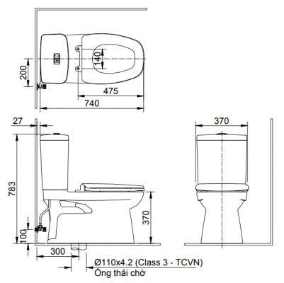 bản vẽ Bồn cầu 2 khối INAX AC-808VN xả nhấn Aqua Ceramic