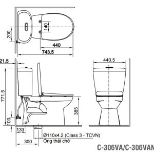 bản vẽ Bồn cầu 2 khối INAX C-306VAN nắp êm