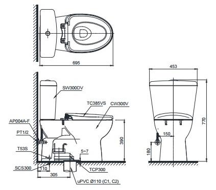 bản vẽ bồn cầu toto CS300DRT2