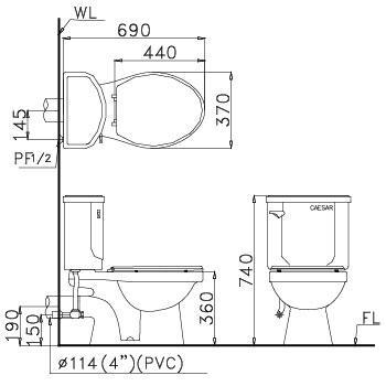 Bản vẽ bồn cầu Caesar CPT1332 - Xí bệt bàn cầu vệ sinh 2 khối