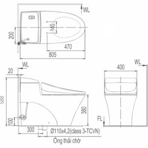 Bản vẽ bồn cầu 1 khối INAX AC-1008VRN Aqua Ceramic xả nhấn