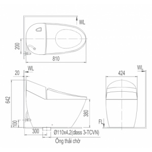 Bản vẽ bồn cầu 1 khối INAX AC-2700VN Aqua Ceramic