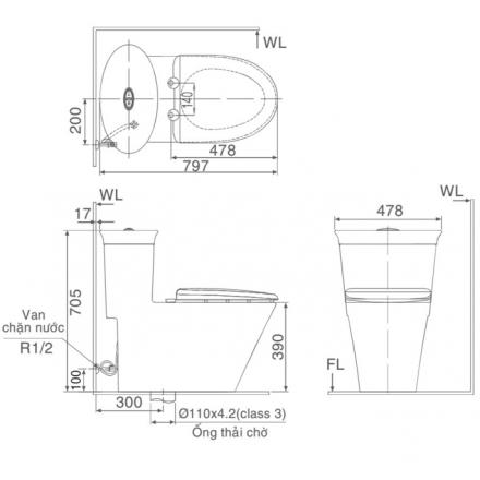 bản vẽ bồn cầu 1 khối INAX AC-3003VN Aqua Ceramic xả nhấn