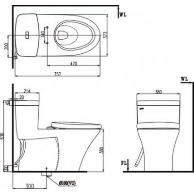 bản vẽ bồn cầu 1 khối INAX AC-900VRN Aqua Ceramic