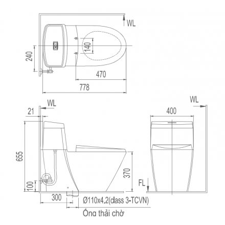 Bản vẽ bồn cầu 1 khối INAX AC-909VRN-1 Aqua Ceramic