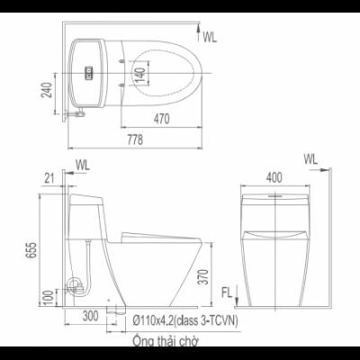 bản vẽ bồn cầu 1 khối INAX AC-909VRN Aqua Ceramic