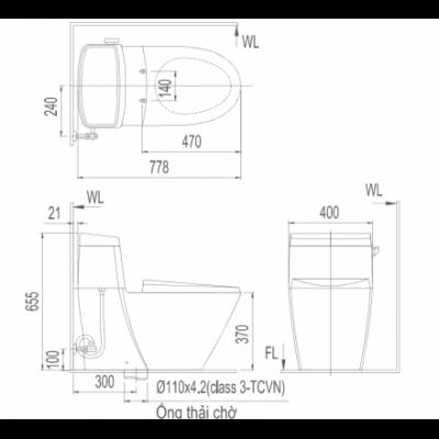 Bản vẽ bồn cầu 1 khối INAX AC-918VRN-1 Aqua Ceramic