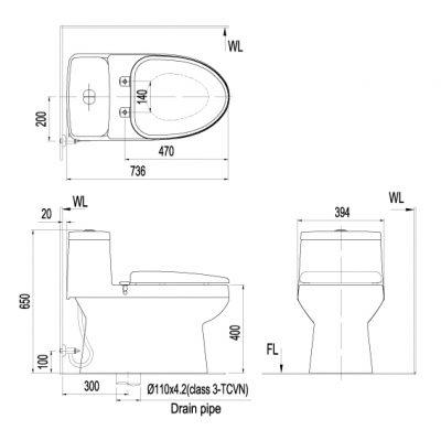 Bản vẽ bồn cầu 1 khối INAX AC-939VN Aqua Ceramic
