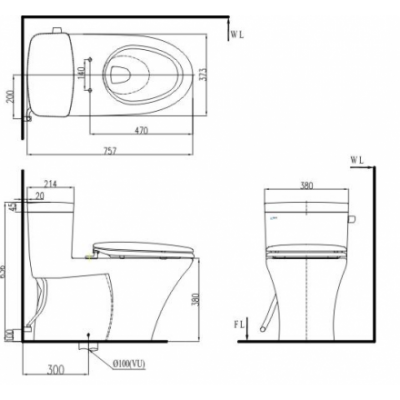 bản vẽ bồn cầu 1 khối INAX AC-991VRN Aqua Ceramic xả gạt