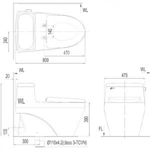 Bản vẽ bồn cầu 1 khối Inax AC1135VN nắp êm