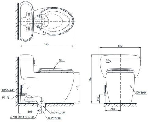 Bản vẽ bồn cầu 1 khối TOTO MS366